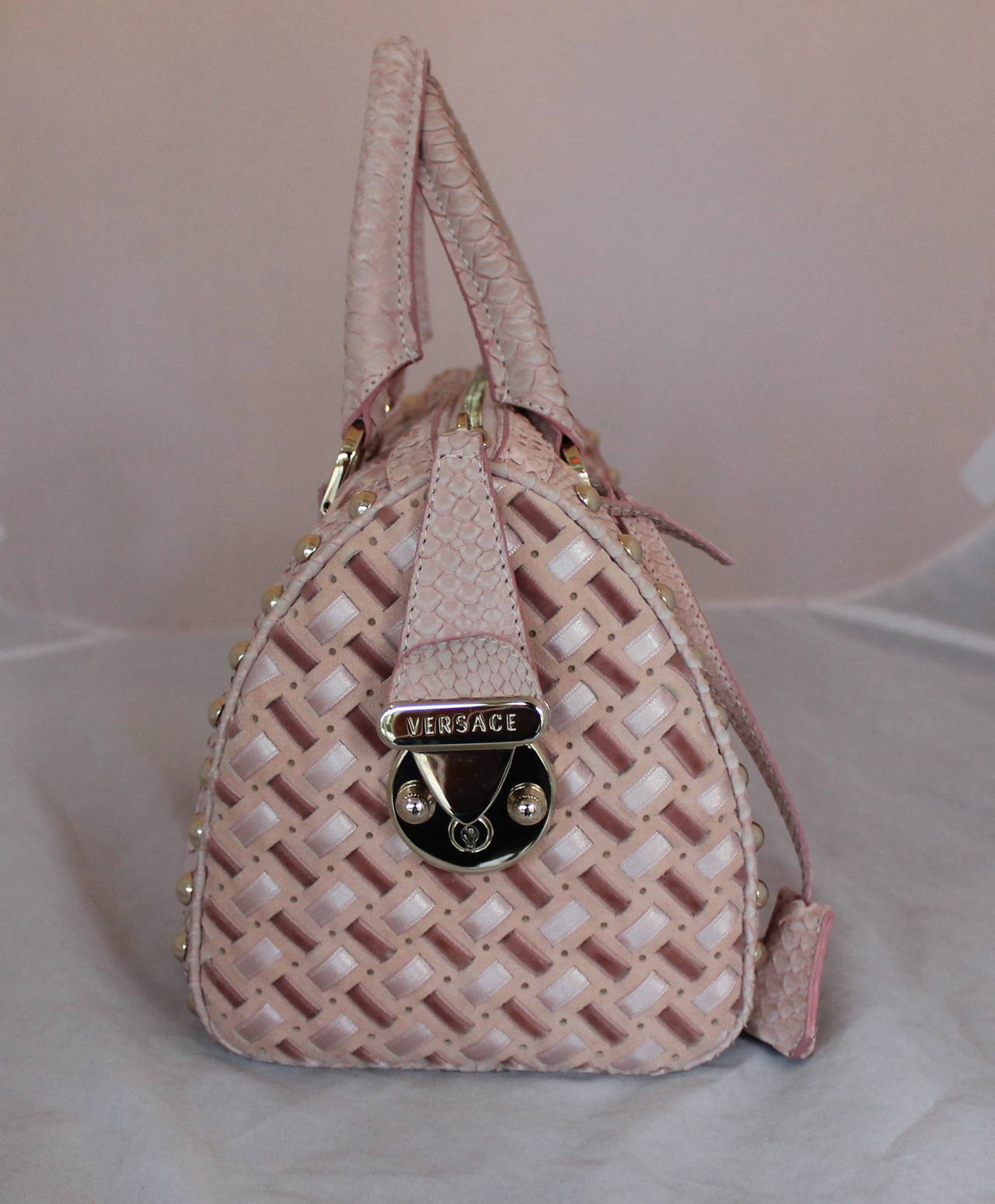 Gray Versace Suede, Velvet, & Riboon Woven Handbag with Snake Trim For Sale