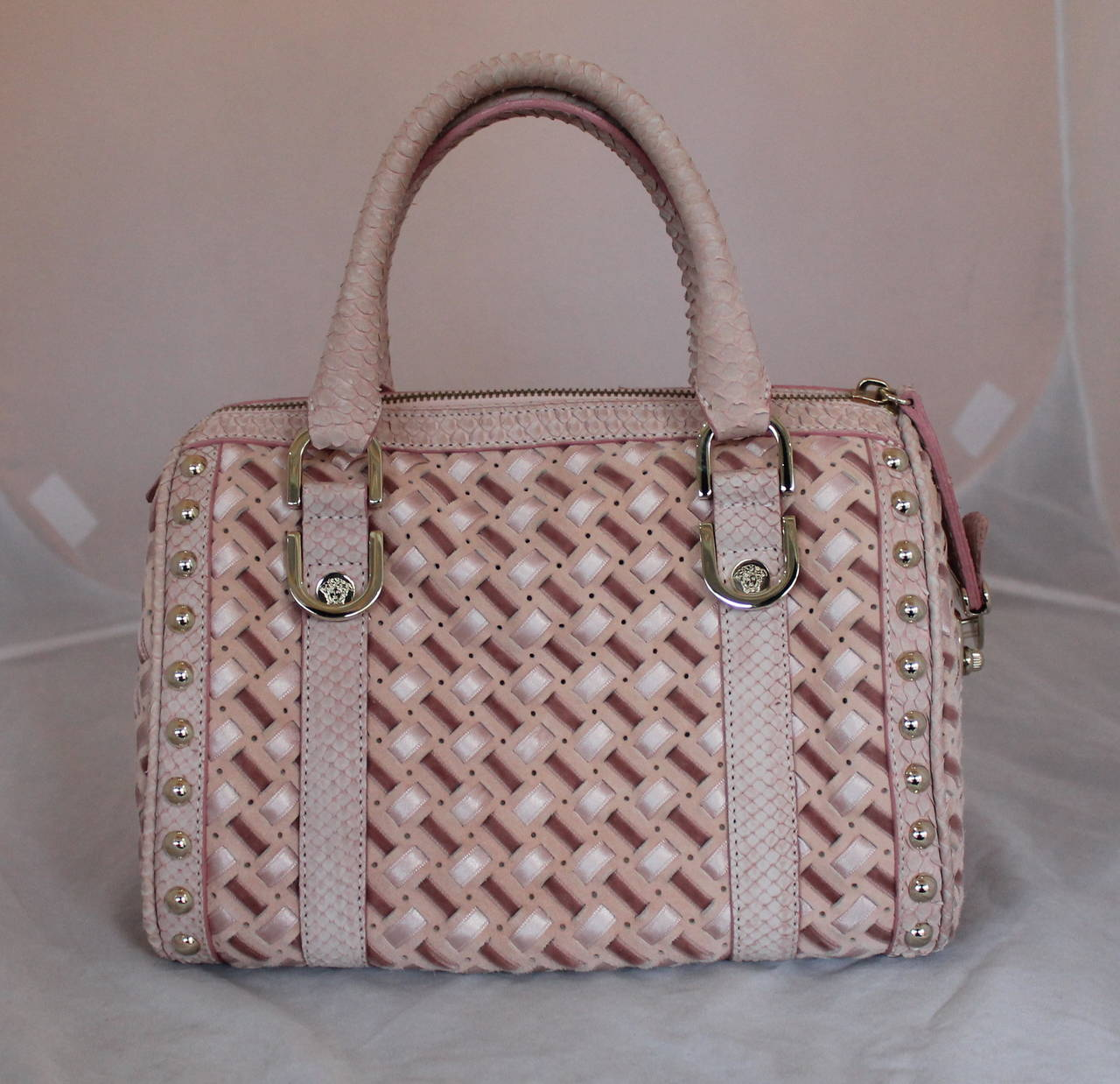Versace Suede, Velvet, & Riboon Woven Handbag with Snake Trim In Excellent Condition For Sale In Palm Beach, FL