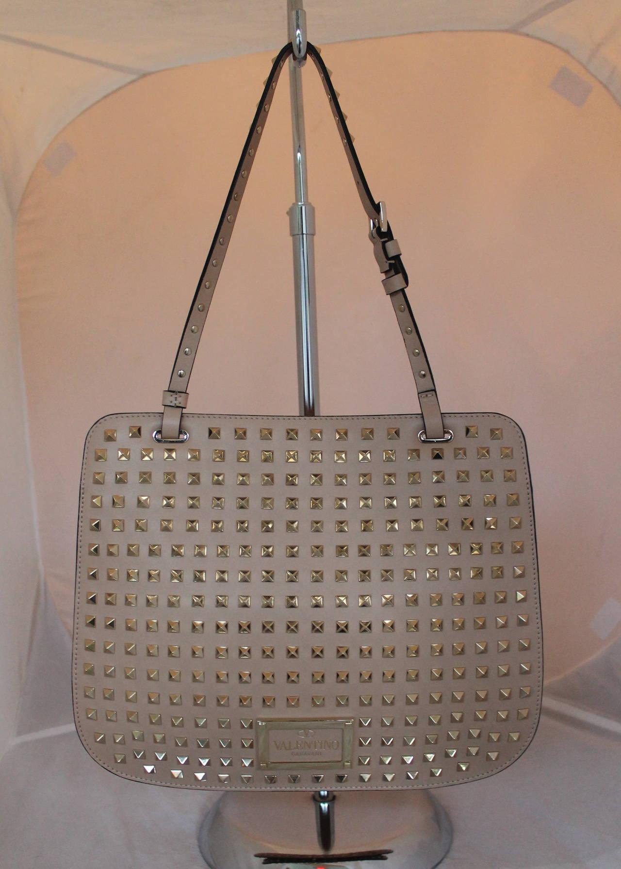 Gray Valentino Beige Leather Rockstud Single Strap Shoulder Bag For