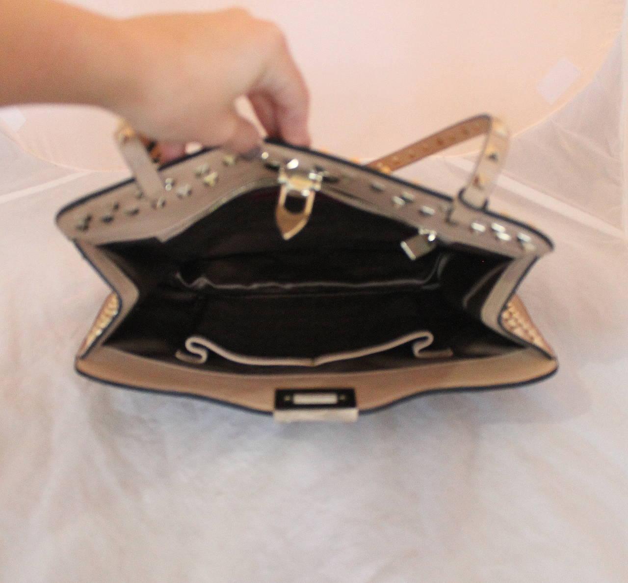 Valentino Beige Leather Rockstud Single Strap Shoulder Bag For 1