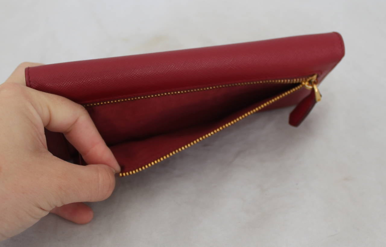 prada begs - Prada Red Saffiano Leather Jewelled Wallet Clutch - rt $1,450 For ...