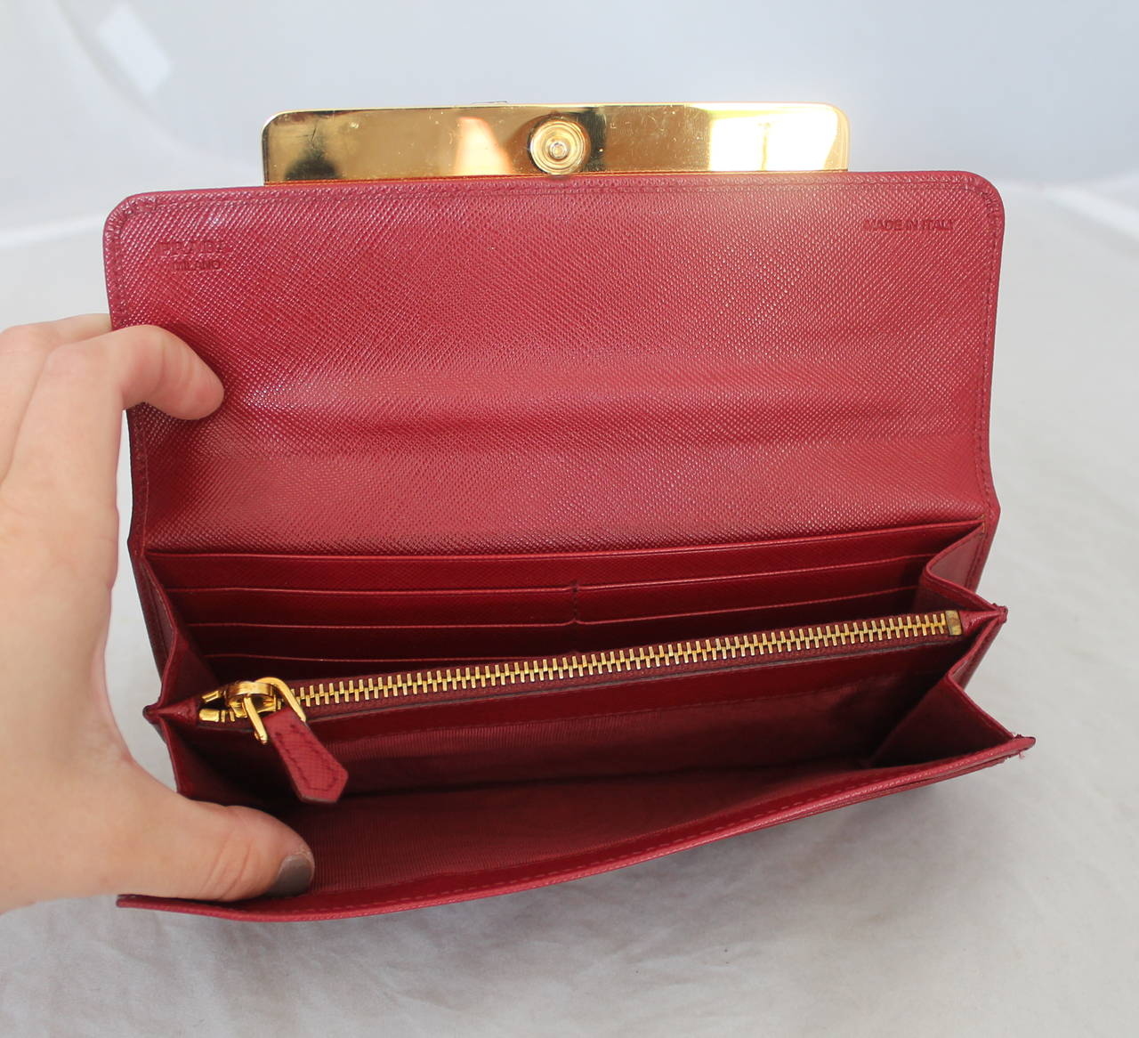 Prada Red Saffiano Leather Jewelled Wallet Clutch - rt $1,450 For ...