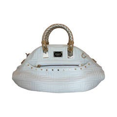 Versace Couture White Quilted Leather Handbag with Gold Braided Handle GHW