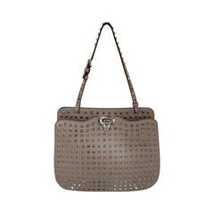 Valentino Beige Leather Rockstud Single Strap Shoulder Bag