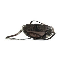 Fendi Brown Beaded Handbag with Snake & Mirror Detail