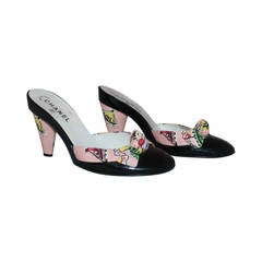 Chanel Fabric Beach Print & Black Patent Heel with Bow - 40