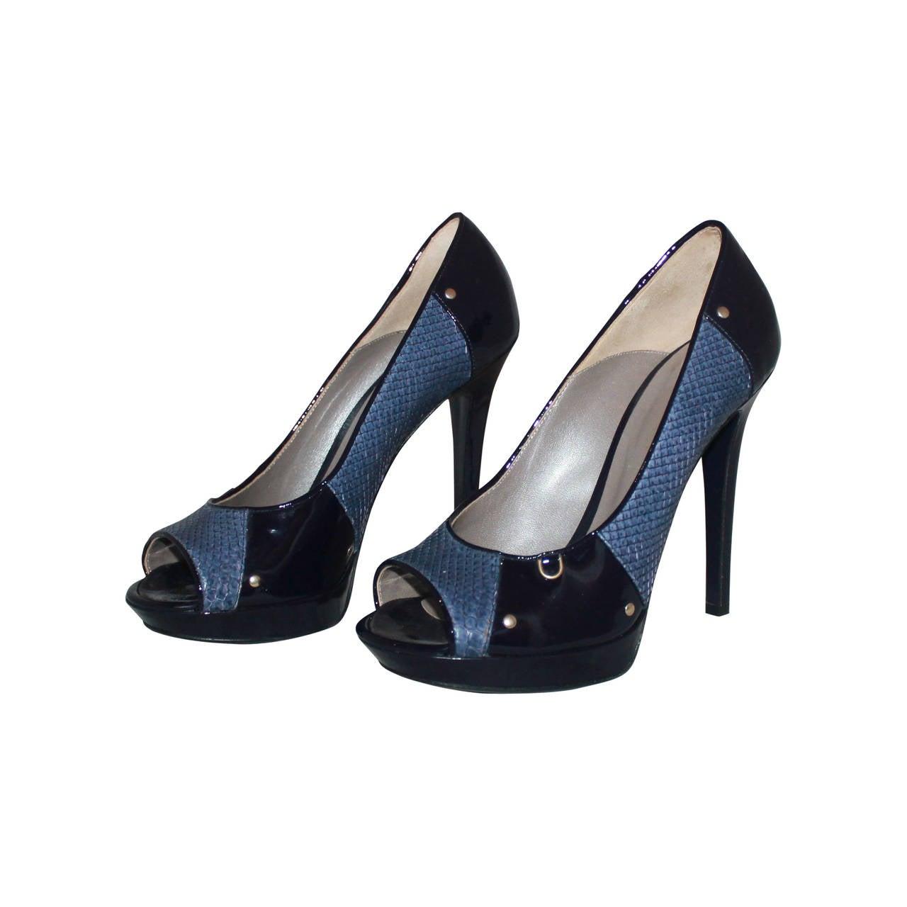 Versace Indigo Snake & Patent Peep-toe Pumps - 40