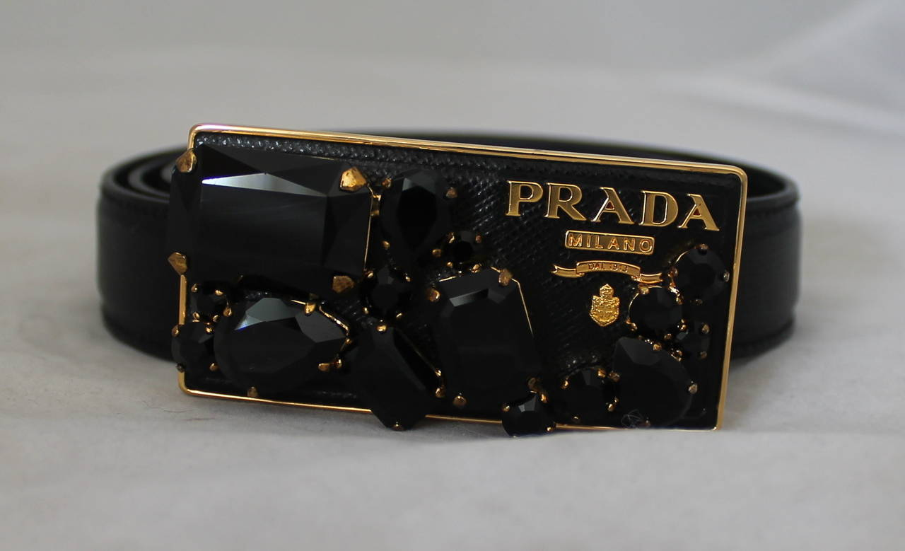 Famous Prada Black Saffiano Leather Belt with Gold Rhinestone Buckle at  IO78