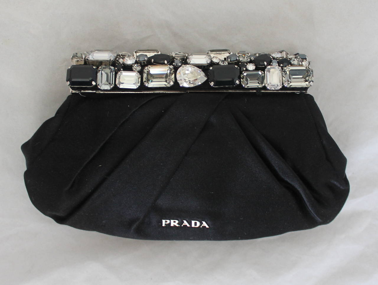 black prada handbags - Prada Black Satin Clutch with Rhinestone Cluster Handle SHW rt ...