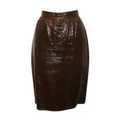 Emanuel Ungaro Vintage Olive Patent Skirt - 10-Circa 70's