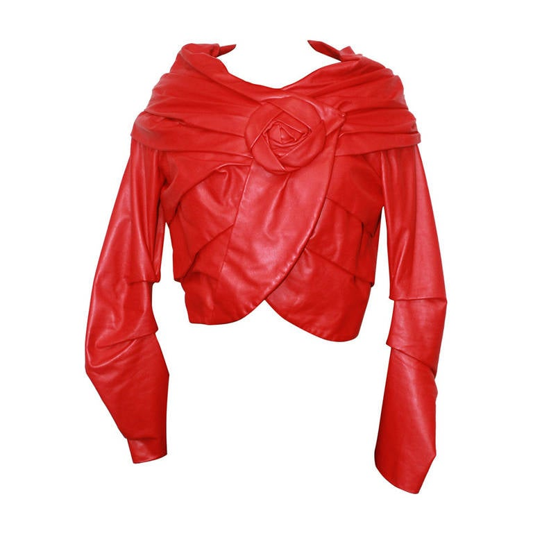 Emanuel Ungaro Red Leather Ruched Jacket with Rose - S For Sale
