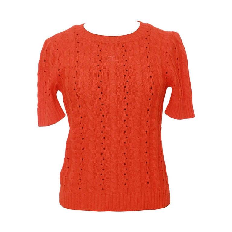 Courreges Vintage Orange Crewneck Top - M For Sale