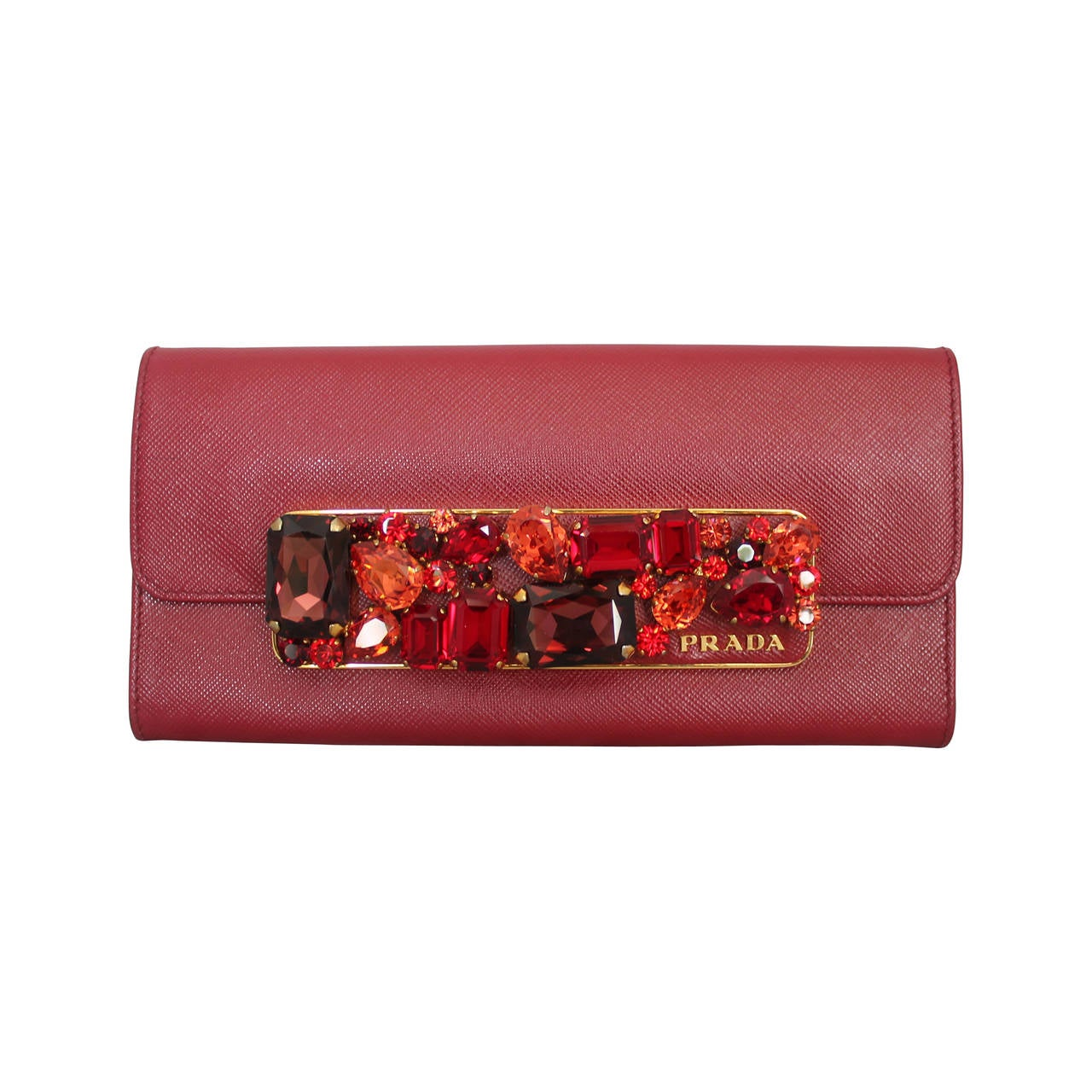 proda bags - Prada Red Saffiano Leather Jewelled Wallet Clutch - rt $1,450 For ...