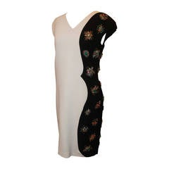 Emilio Pucci Ivory & Black Virgin Wool Dress with Multi-Colored Stones - 40