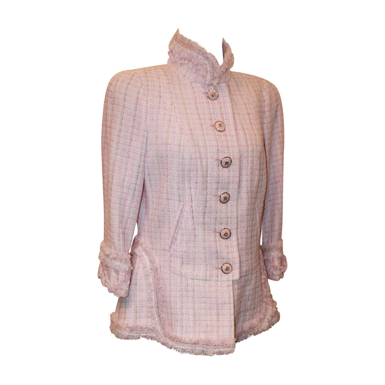 Chanel 2013 Light Pink and White Tweed Jacket with Fringe Detail ...