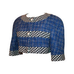 Chanel Blue, Black & White Tweed Crop Bolero with Pearl Buttons - 40
