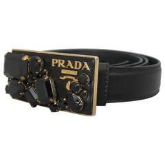 Prada Black Saffiano Leather Belt with Gold Rhinestone Buckle