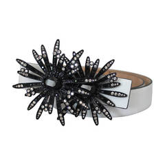 Valentino White Leather Belt with Black & Grey Rhinestone Flower Buckle
