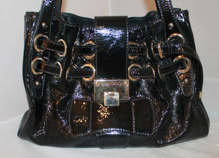 Jimmy Choo Black Patent Ramona Handbag. This bag is in excellent condition.