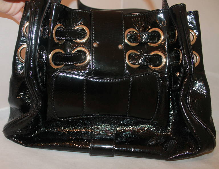 Jimmy Choo Black Patent Ramona Handbag In Excellent Condition For Sale In Palm Beach, FL