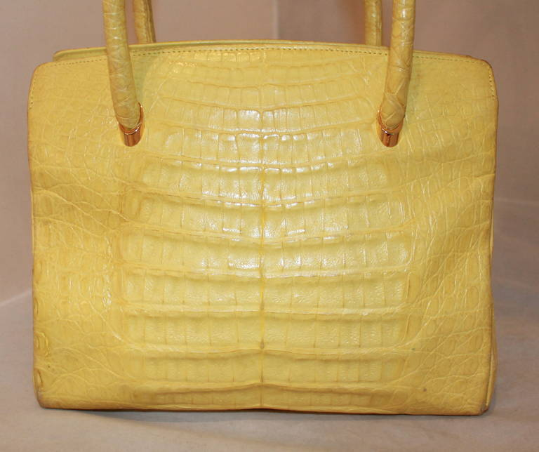 Lana Marks Yellow Alligator Handbag 2