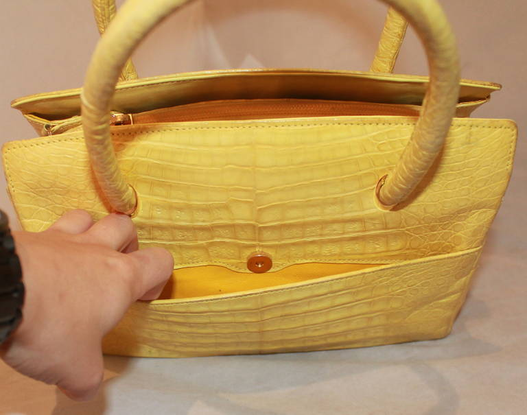 Lana Marks Yellow Alligator Handbag 3
