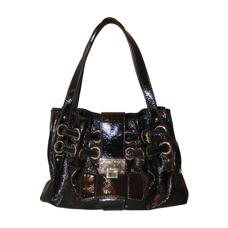 Jimmy Choo Black Patent Ramona Handbag For Sale at 1stdibs