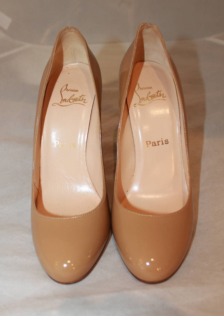 Christian Louboutin Tan Patent Pumps - 9 2