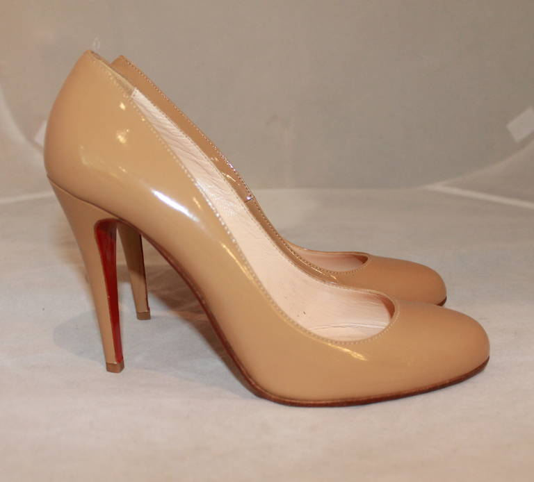 Christian Louboutin Tan Patent Pumps - 9 3