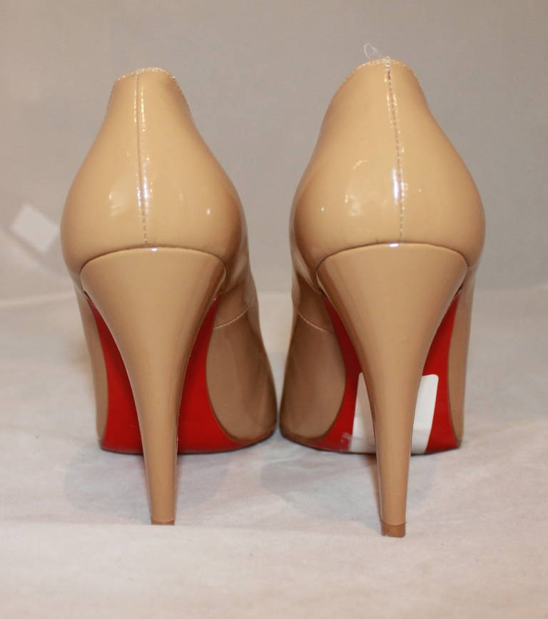 Christian Louboutin Tan Patent Pumps - 9 4