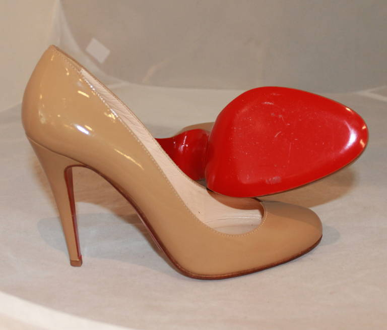 Christian Louboutin Tan Patent Pumps - 9 5