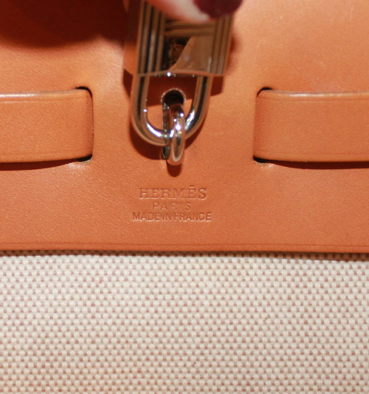 Hermes Gold Leather Tan and Black Canvas \u0026quot;Her\u0026quot; Bag 31 cm at 1stdibs