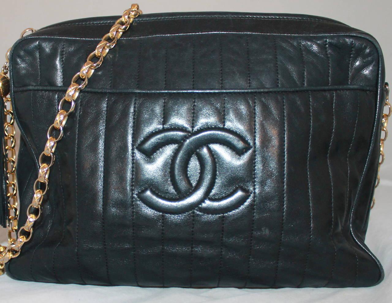 Chanel Vintage Black Lambskin Handbag with Tassle - circa 1990s 3