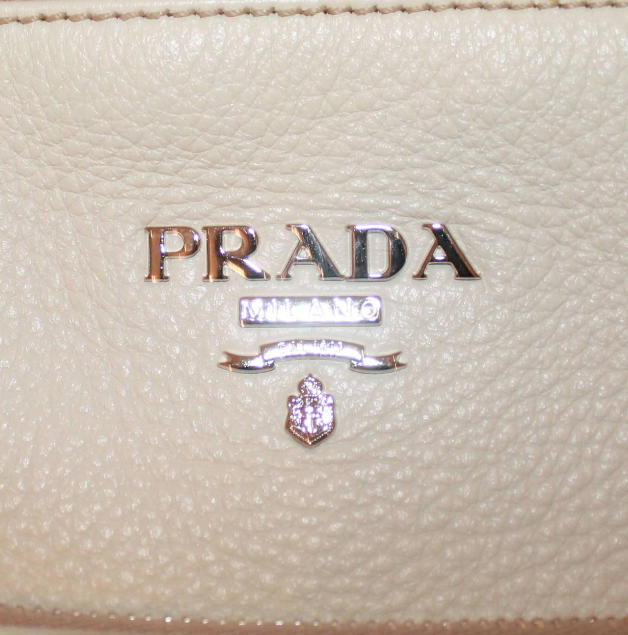 Prada Ivory Pebbled Leather Large Tote 3