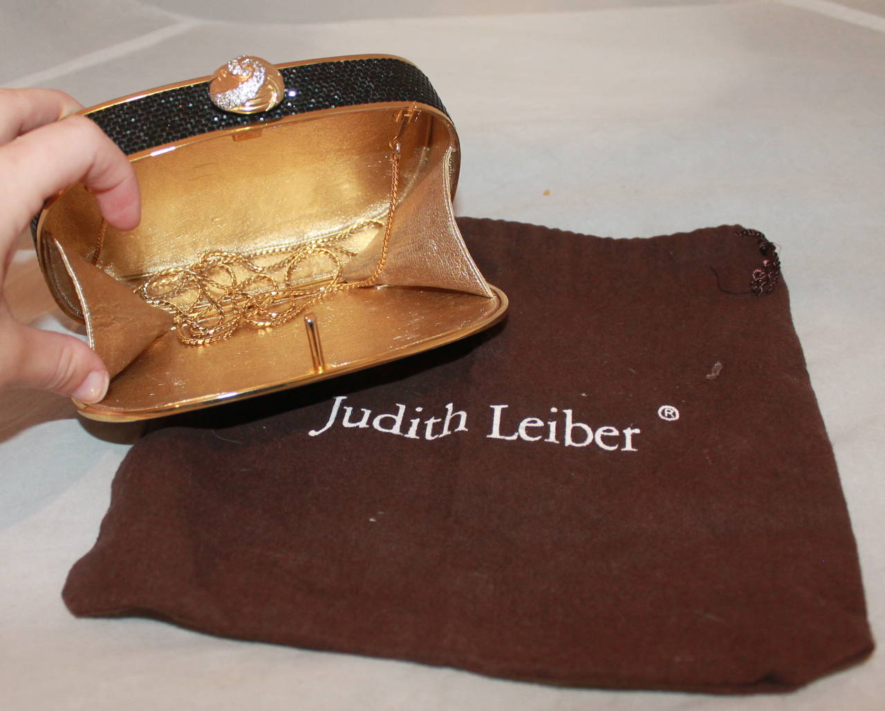 Judith Leiber Vintage Black Crystal Minaudiere For Sale 1