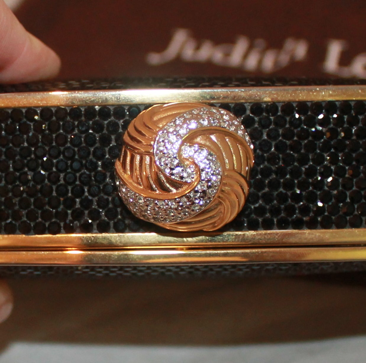 Women's Judith Leiber Vintage Black Crystal Minaudiere For Sale