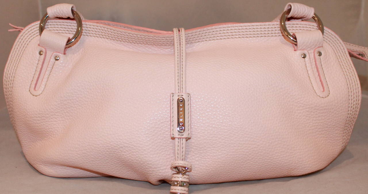 Celine Pink Pebbled Leather Shoulder Handbag For Sale at 1stdibs