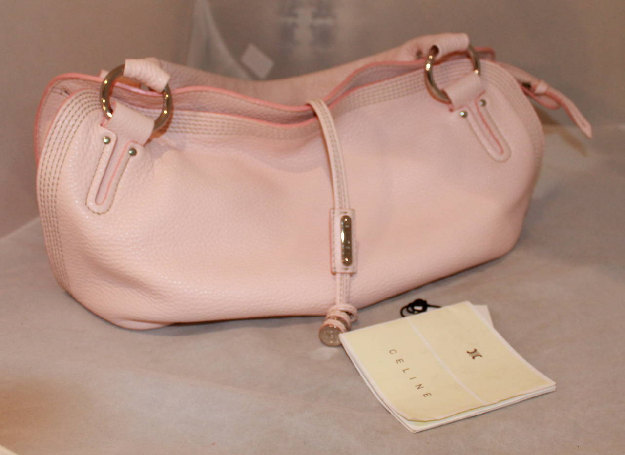 celine small leather messenger bag - Celine Pink Pebbled Leather Shoulder Handbag For Sale at 1stdibs
