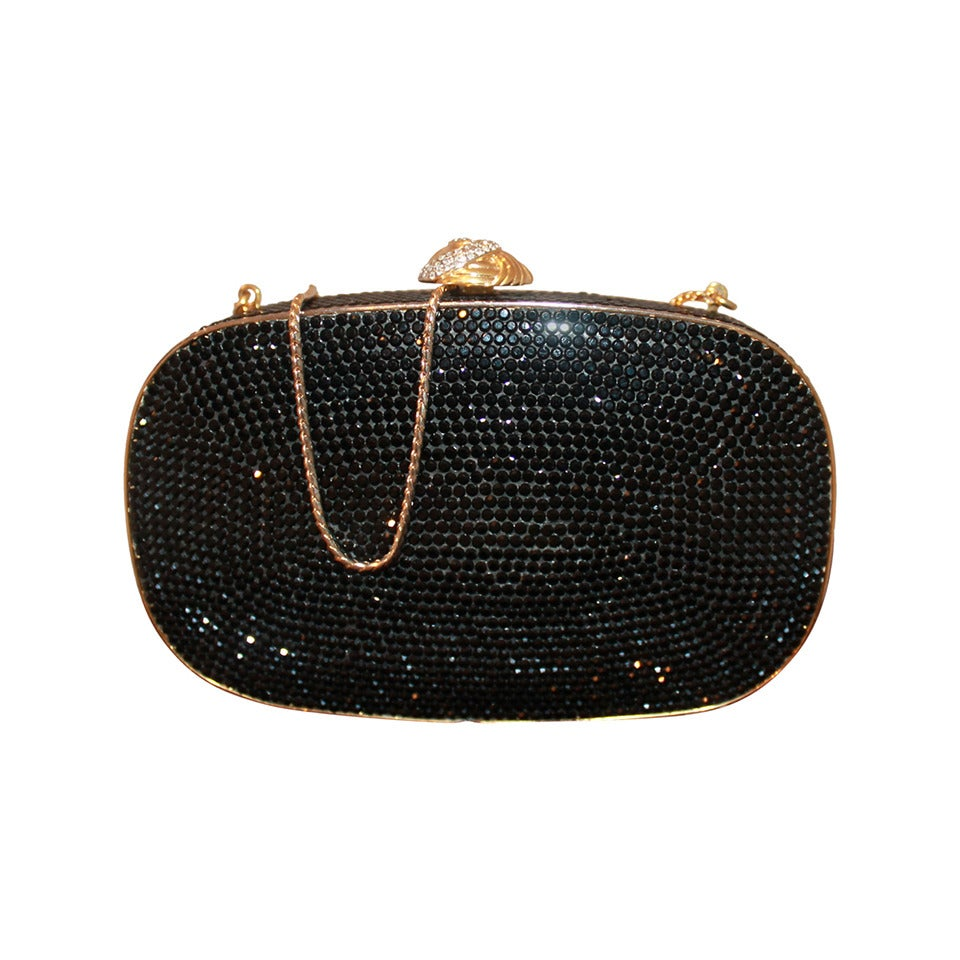 Judith Leiber Vintage Black Crystal Minaudiere For Sale
