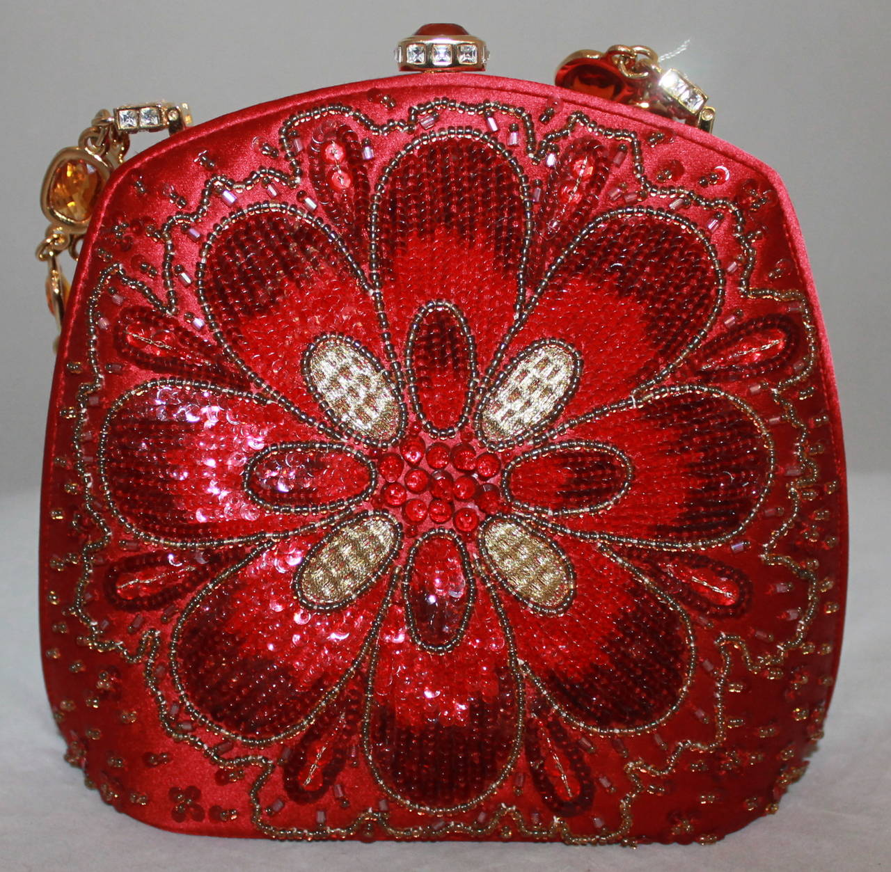 Judith Leiber Vintage Red Satin Beaded Evening Bag with Jeweled Handle 2