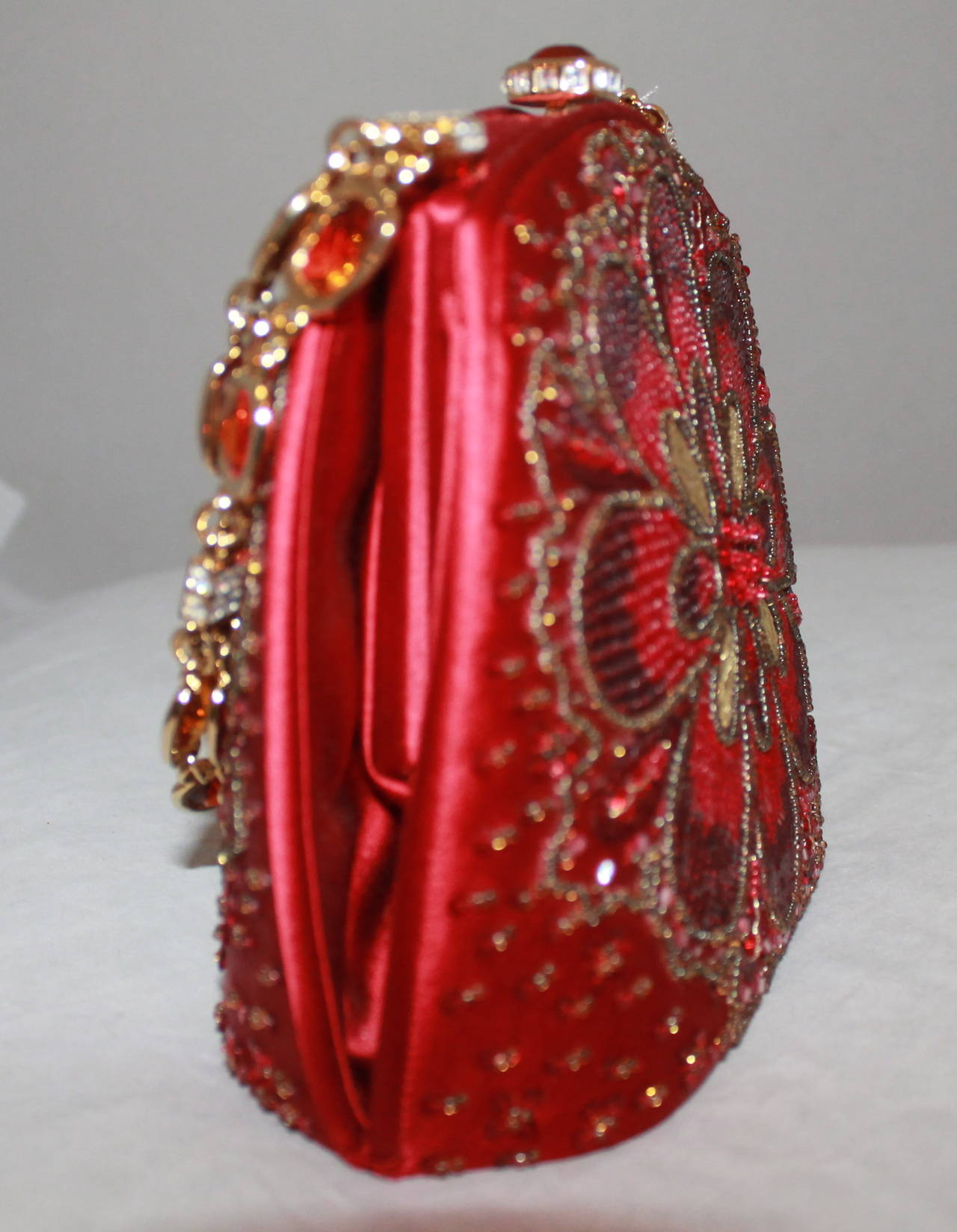 Judith Leiber Vintage Red Satin Beaded Evening Bag with Jeweled Handle 3