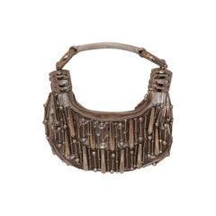 Chloe Pewter Satin & Metal Bracelet Handbag