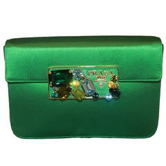 Prada Green Satin Rhinestone Crossbody & Clutch