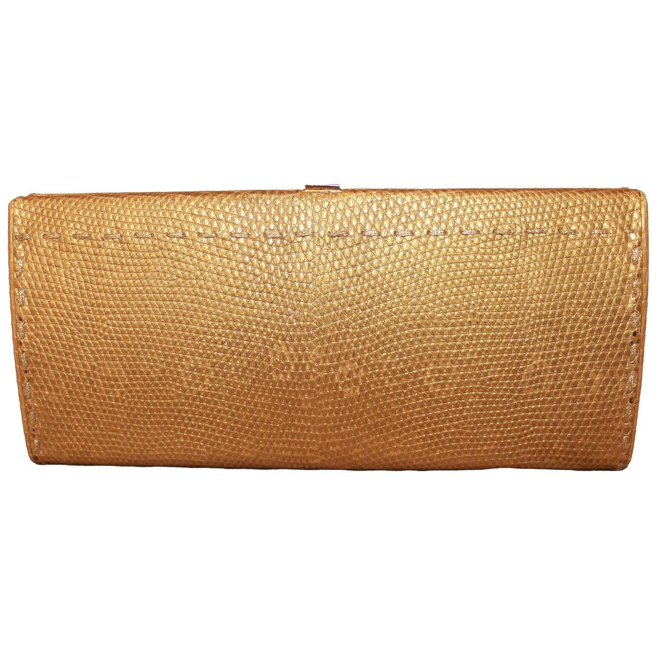 VBH Gold Lizard Clutch with Stitched Trim