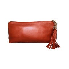 Gucci Broadway Burnt Orange Metallic Clutch with Tassel - GHW