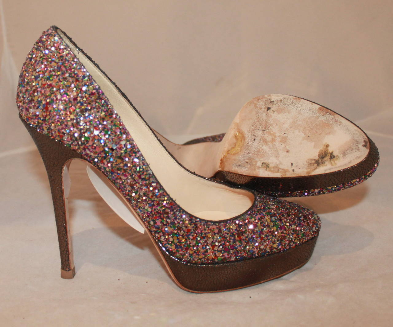 Jimmy Choo Metallic Pink Sparkle Shoes - 39 5