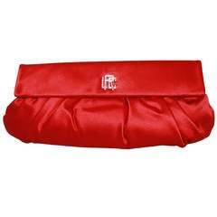 Ralph Lauren Collection Red Satin Clutch - Retail $2100