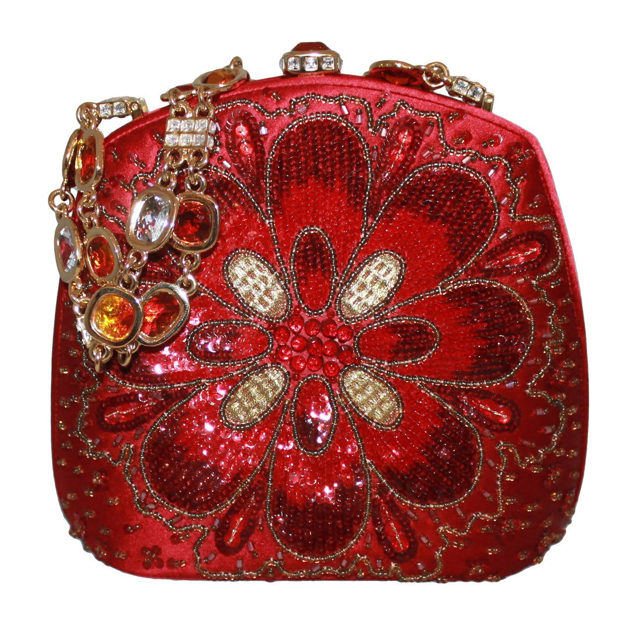 Judith Leiber Vintage Red Satin Beaded Evening Bag with Jeweled Handle 1