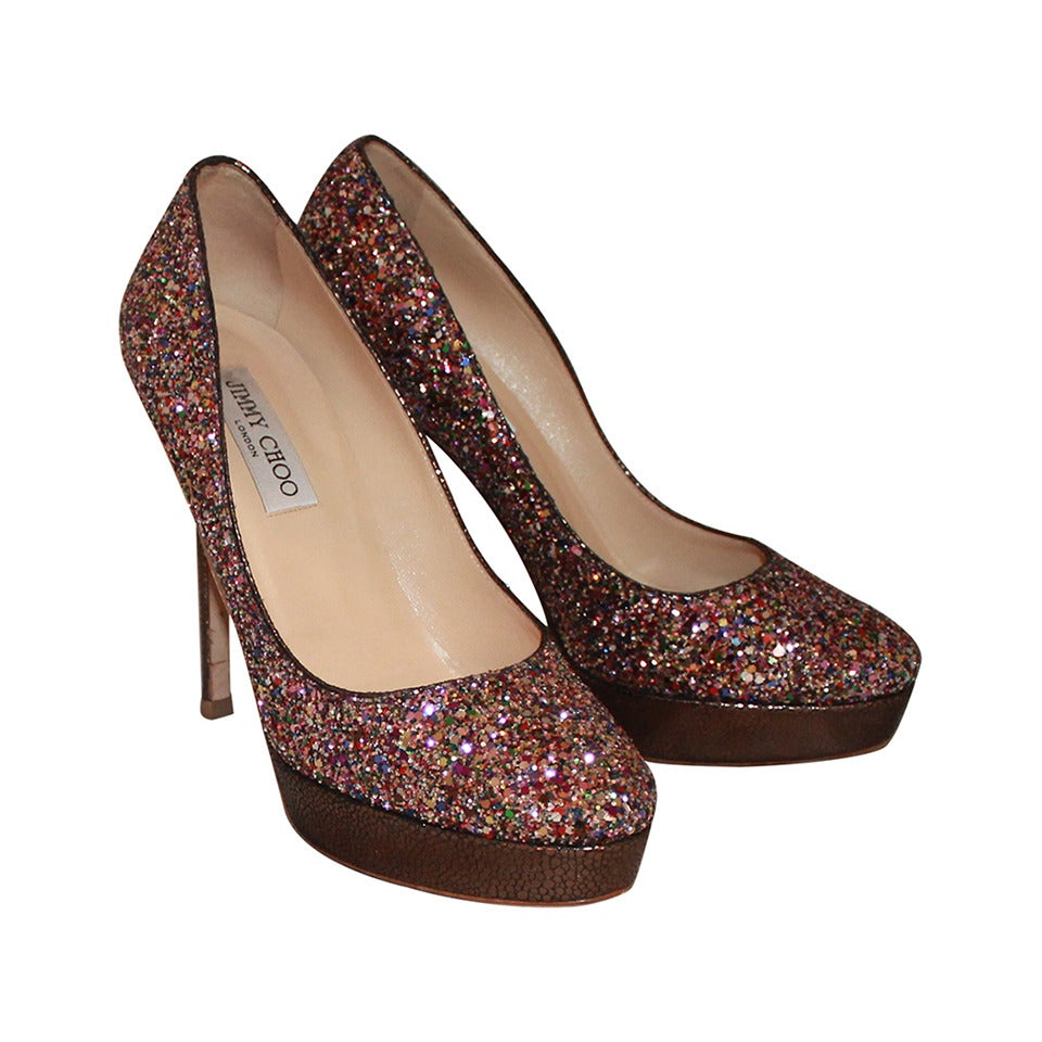 jimmy choo metallic pink sparkle shoes 39 at 1stdibs