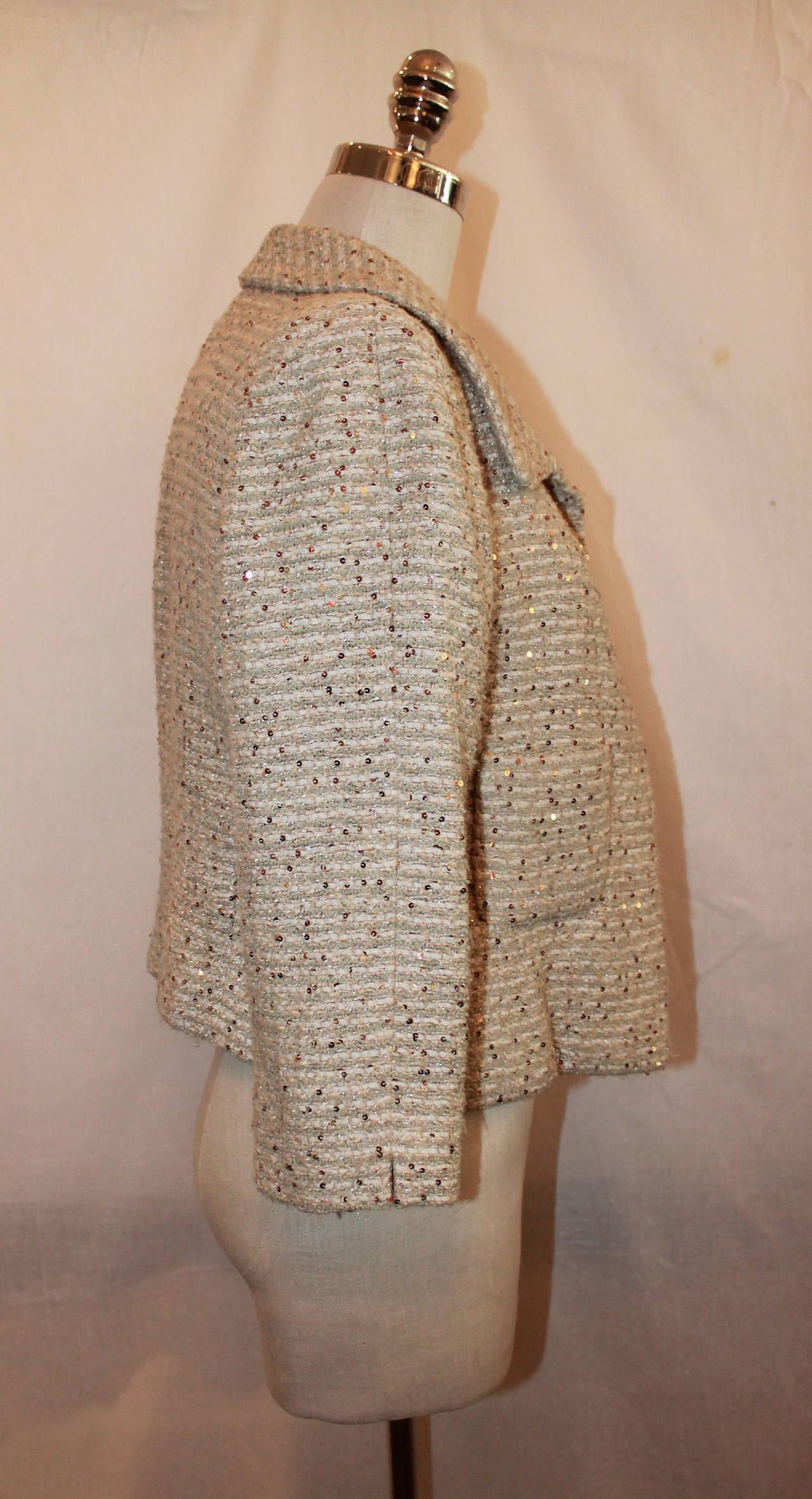Brown Oscar De La Renta Cream Metallic Tweed with Sequin Jacket - 8 For Sale
